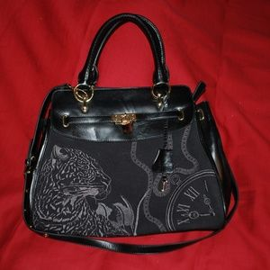 "Sharif Black ""Leopard/Clock"" Purse"